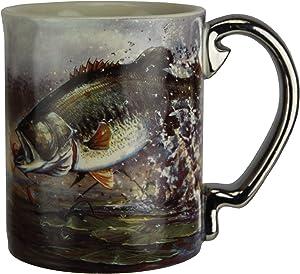 River's Edge Products Bass Scene 3D Ceramic Coffee Mug, Microwave Safe 15 Ounce Large Mug