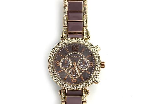 Amazon.com: Bebe Mujer Reloj acero inoxidable de oro/Nude ...