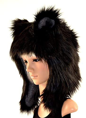 17c48c40b13fe Amazon.com  Black Bear Faux Fur Animal Hat  Handmade
