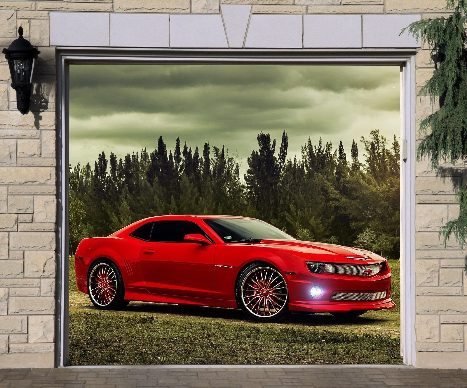 Single Garage Door Cover Mustang Car Mural 3D Effect Banner Billboard Full Color Banner 3D Effect Print Mural Size 83 x 89 Dav145_1