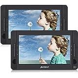 Pumpkin Lettore dvd portatile auto poggiatesta doppio schermo da 10.1 pollici con supporto, lunga durata da 5 ore, regione free, supporta USB/ SD/MMC