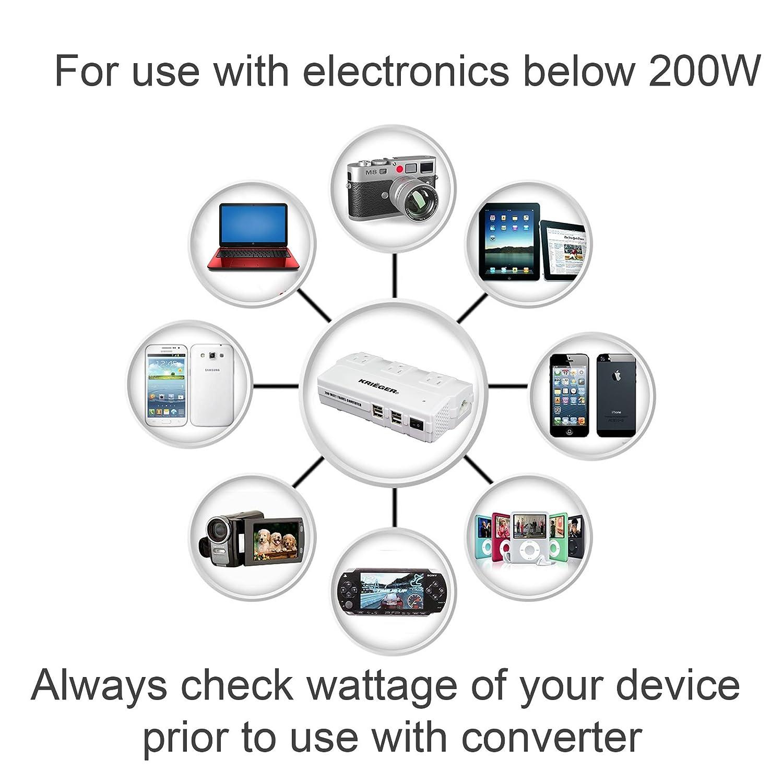 Krieger 200w Power Converter Steps Down 220v To 110v American Plug Wiring Electronics