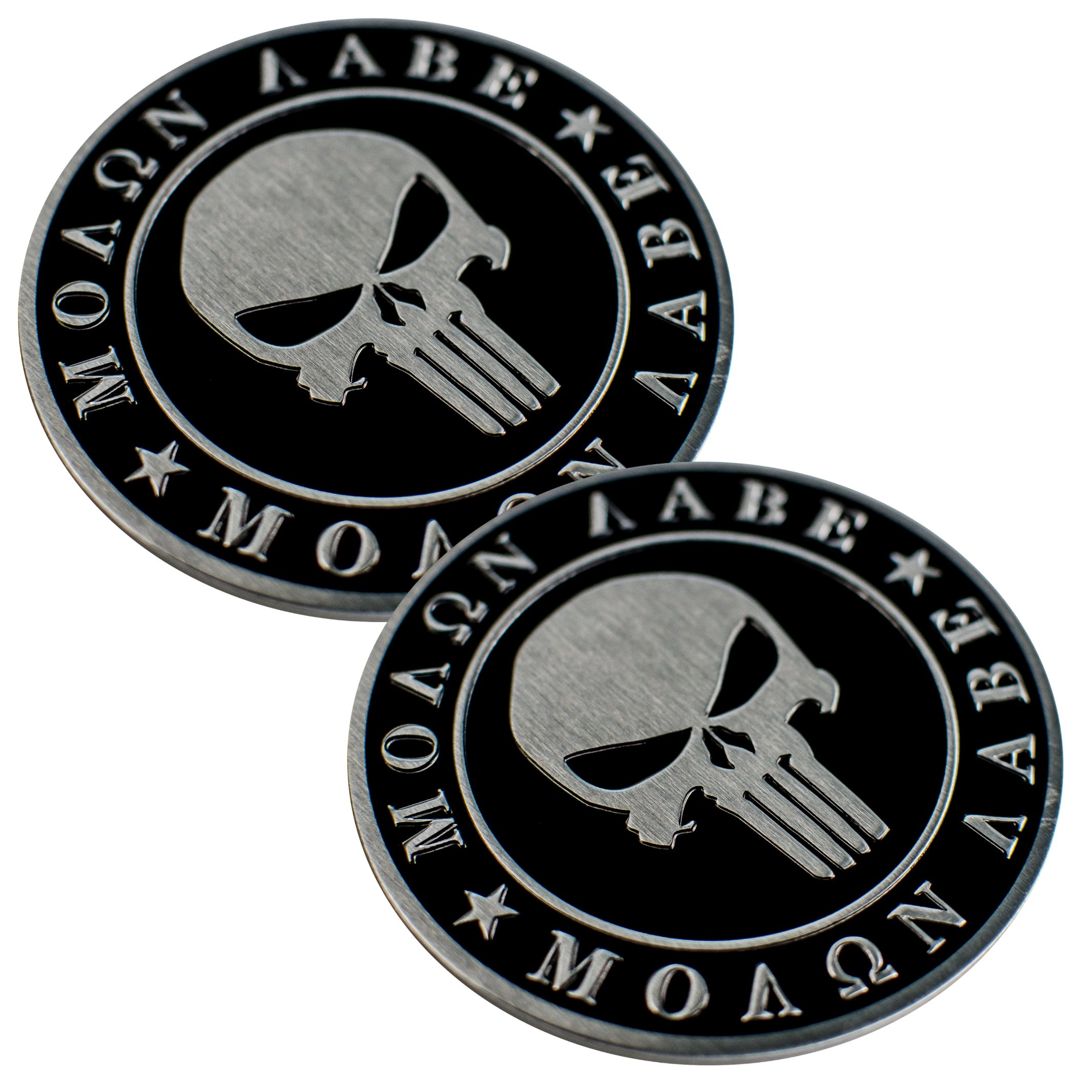 2 Pack Motorcycle Emblem 2nd Amendment Molon Labe Sticker Decal DOME SHAPE