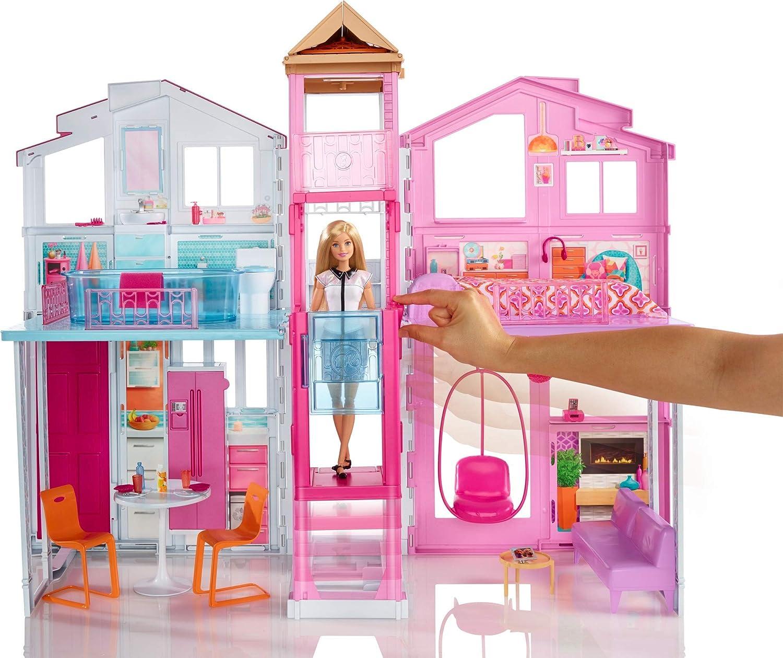 Amazon Com Barbie Pink Passport 3 Story Townhouse Toys Games