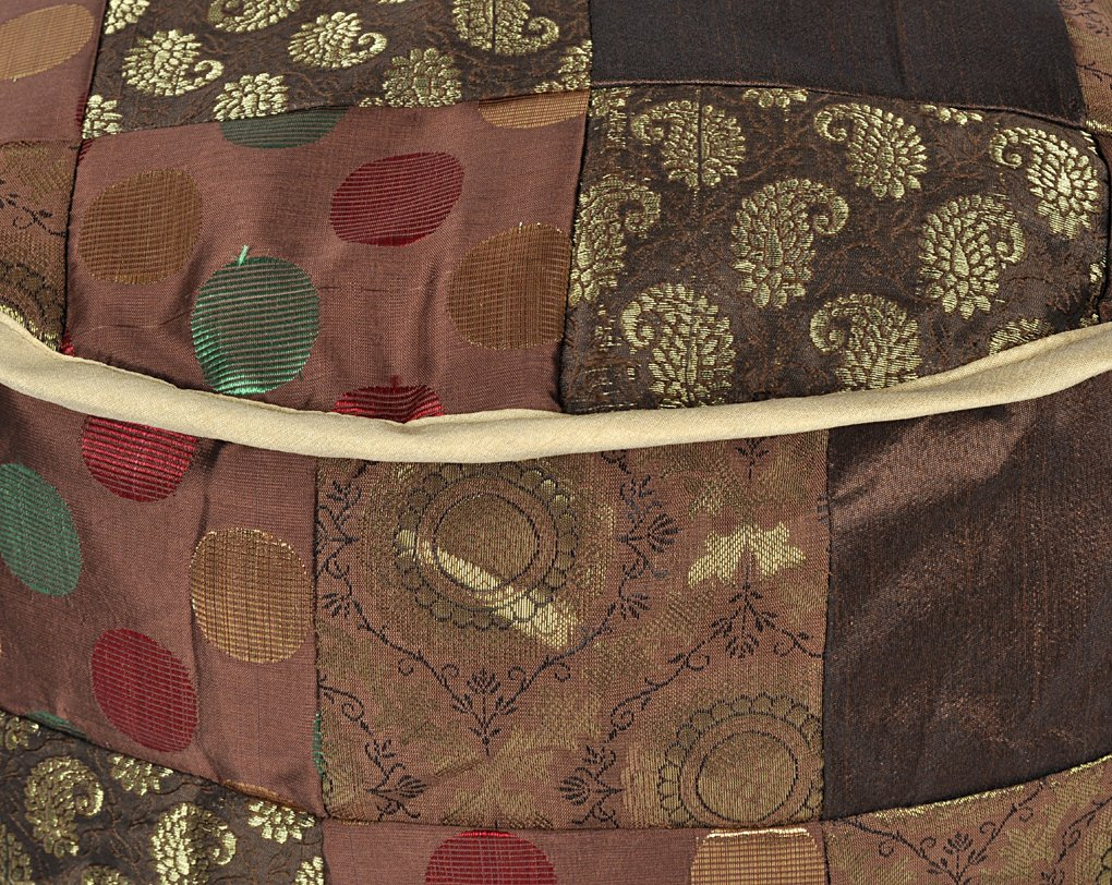Lalhaveli Room Decorative Handmade Patchwork Silk Ottoman Cover 17 X 17 X 13 Inches