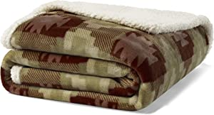 Eddie Bauer Ultra-Plush Collection Throw Blanket-Reversible Sherpa Fleece Cover, Soft & Cozy, Perfect for Bed or Couch, Copper Creek Brown