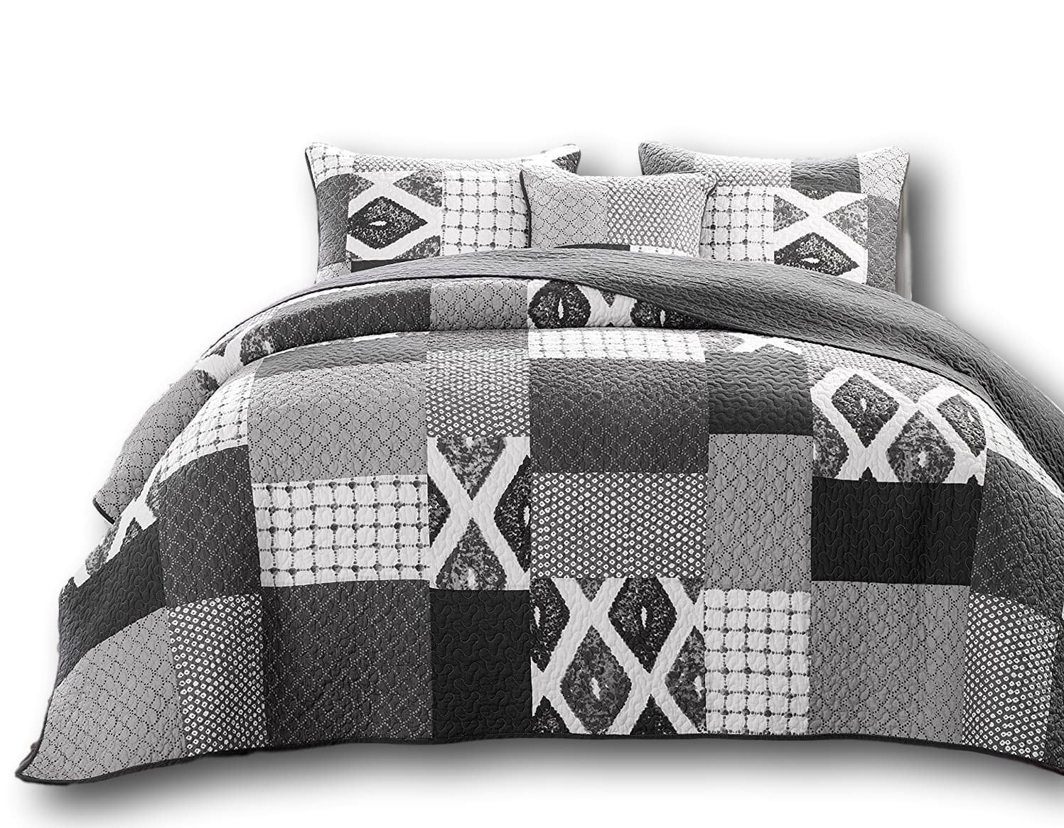 DaDa Bedding Classical Shades of Grey Reversible Cotton Real Patchwork Quilted Coverlet Bedspread Set - Bright Vibrant Geometric Chevron Cool Dark Charcoal & White Print - Full - 3-Pieces by DaDa Bedding Collection