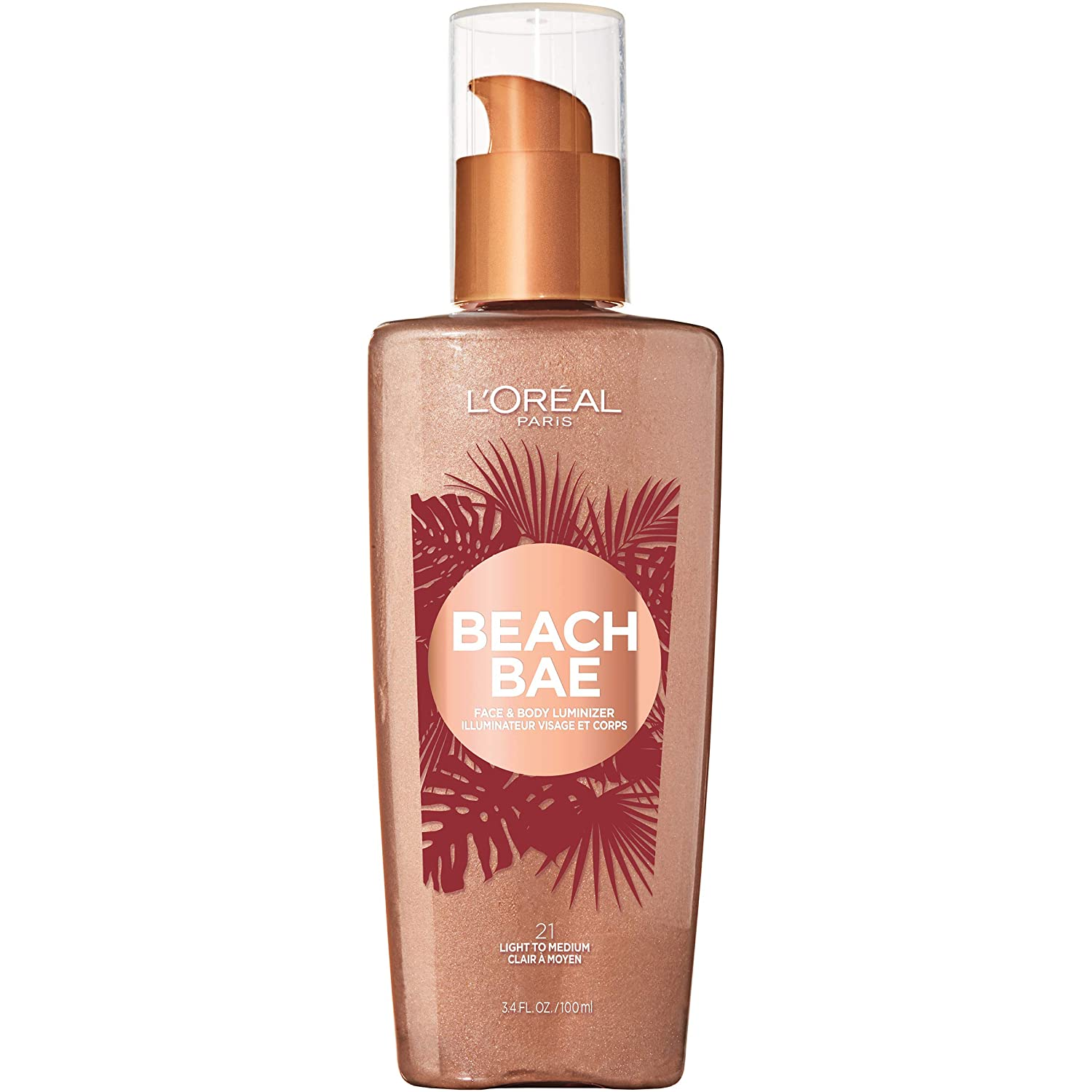 L'Oreal Paris Makeup Summer Belle Makeup, Beach Bae Face & Body Liquid Luminizer, Light to Medium, 3.9 fl. oz.