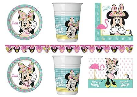 Minnie Tropical Día Kit N ° 13 CDC - (24 platos, 24 vasos ...