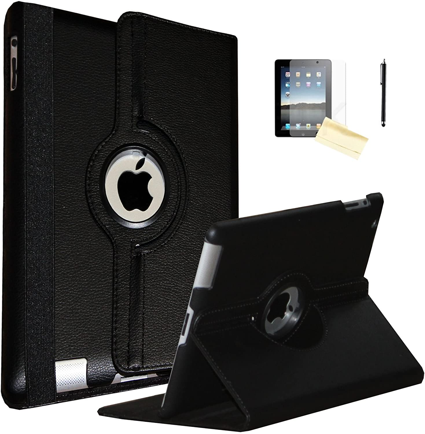 iPad 2 Case, iPad 3 Case, iPad 4 Case, JYtrend (R) Rotating Stand Smart Case Cover Magnetic Auto Wake Up/Sleep for iPad 2/3/4 A1395 A1396 A1397 A1403 A1416 A1430 A1458 A1459  A1460 (Black)