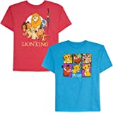 Disney Boys' Big 2 Pack of Lion King Graphic T-Shirts, Red Turquoise Heather