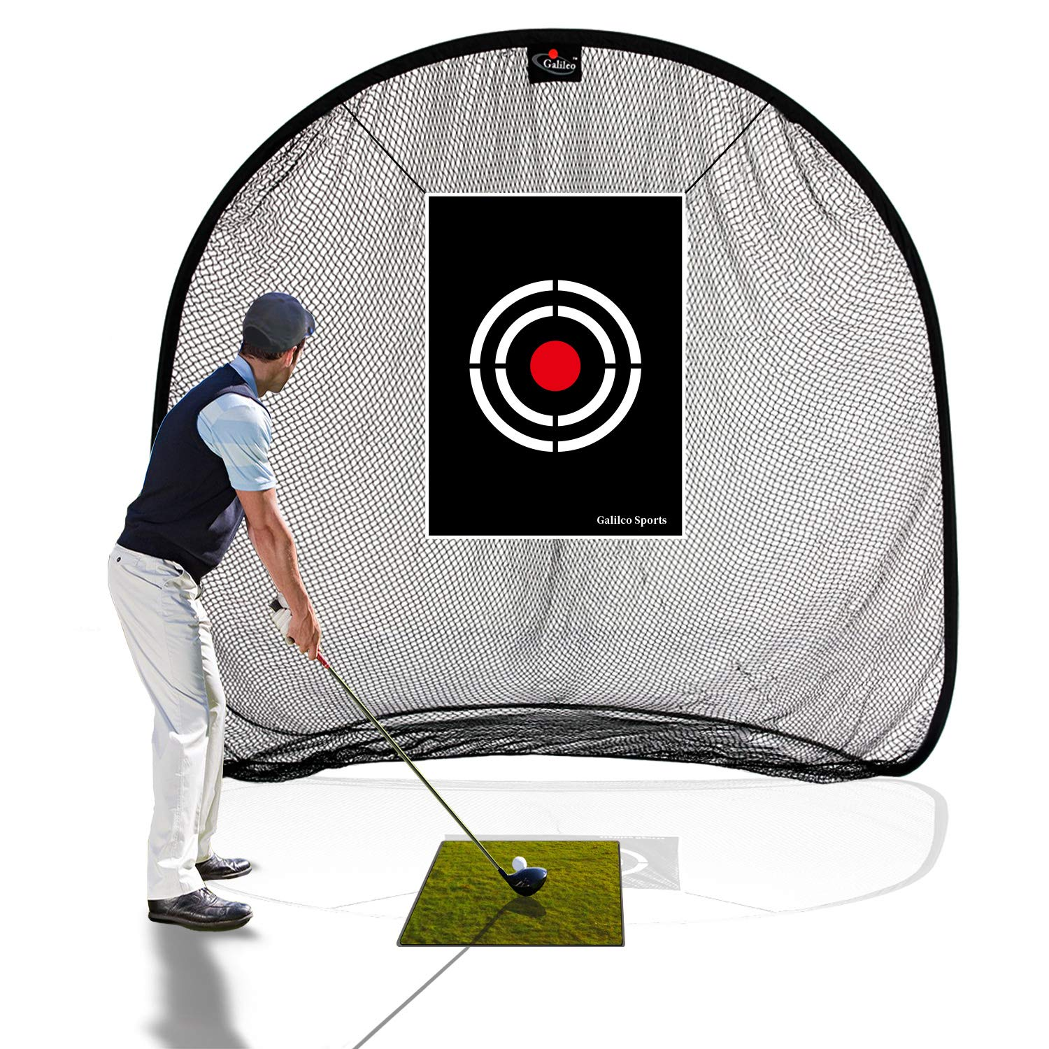 Galileo Golf Net Golf Hitting Nets for Backyard Practice Portable Driving Range Golf Cage Indoor Golf Net Training Aids with Target 7'x7'x4.5' by GALILEO