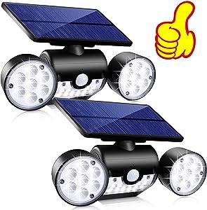 Solar Lights Outdoor, Topmante 30 LED Waterproof Solar Powered Wall Lights with Motion Sensor Dual Head Spotlights IP65 Waterproof 360° Adjustable Solar Motion Lights Outdoor for Front Door Yard Garde