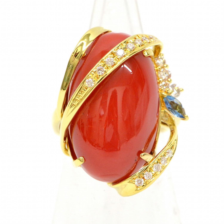 ノーブランド品 血赤珊瑚 750 YG K18 イエローゴールド ダイヤモンド サファイア リング 指輪 10号 レッド 赤 中古 B078B293TX