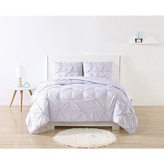 Laura Hart Kids 2 Piece Printed Gingham Pinch Pleat Comforter Set, Twin XL, Purple Gingham
