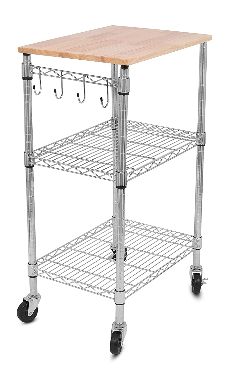 Amazon.com   Internetu0027s Best 3 Tier Kitchen Cart With Locking Wheels,  Removable Cutting Board, 4 Hooks For Cooking Utensils And Extra Rolling  Adjustable ...