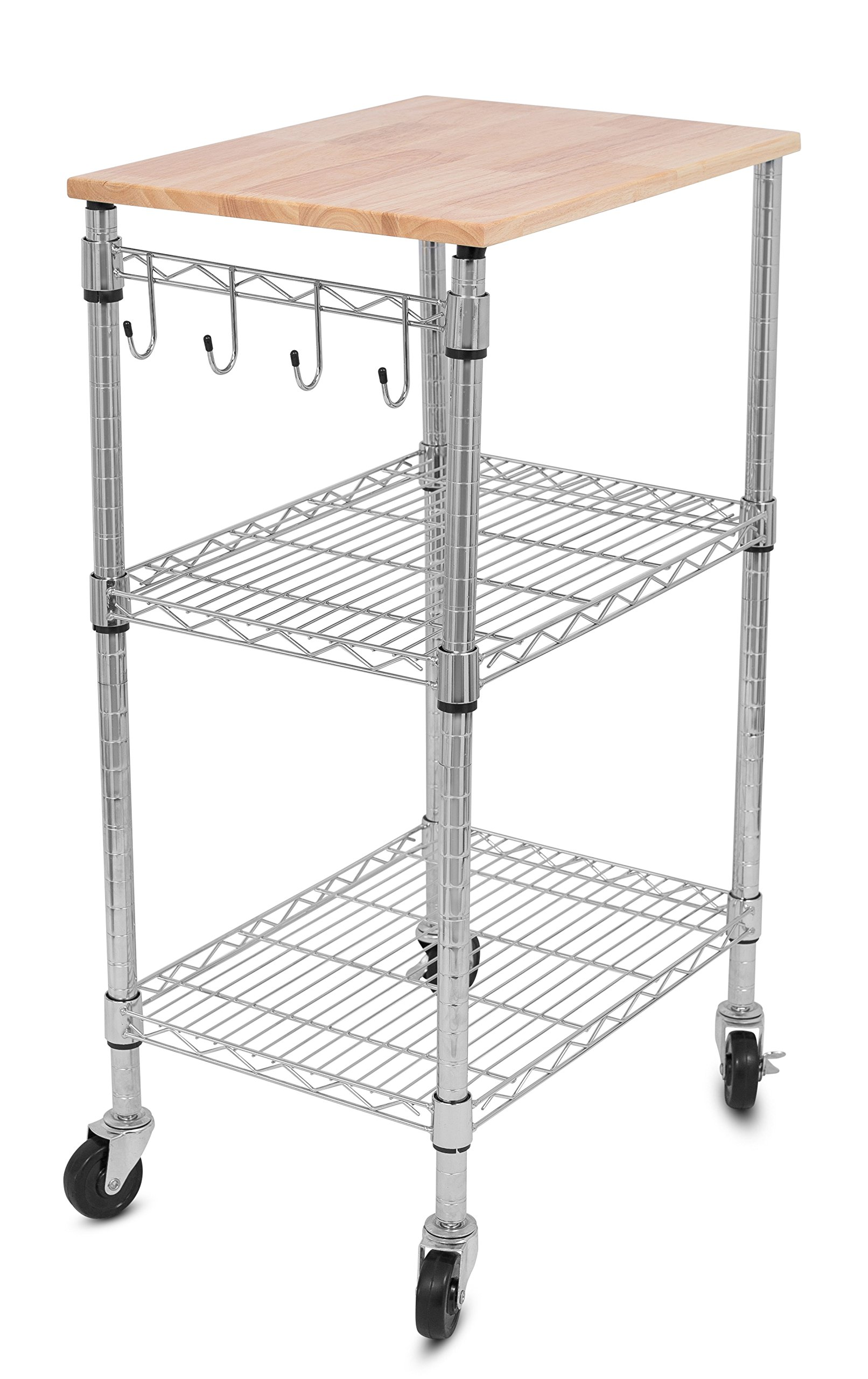 Internet's Best 3-Tier Kitchen Cart on Wheels - Kitchen Island Trolley with Locking Wheels - Appliances Microwave Stand - Removable Natural Wood Cutting Board - 4 Hooks Organizer Stainless Steel by Internet's Best