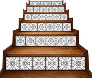 Peel and Stick Stair Riser Decals DIY Tile Backsplash Decals Mexican Talavera Moroccan Turkish Portuguese Traditional Waterproof Home Decor Mural Stickers 7''W x 48''L (Set of 6) (Azulejo Portugal)