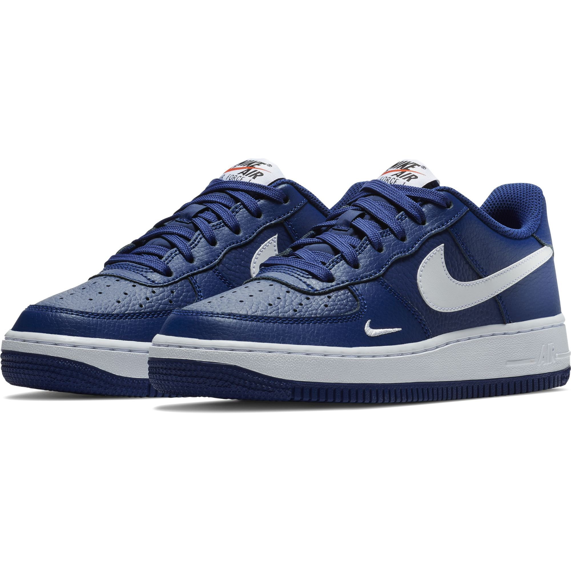 Nike Boy's Air Force 1 Low Basketball Sneaker Deep Royal Blue/White-White 5Y
