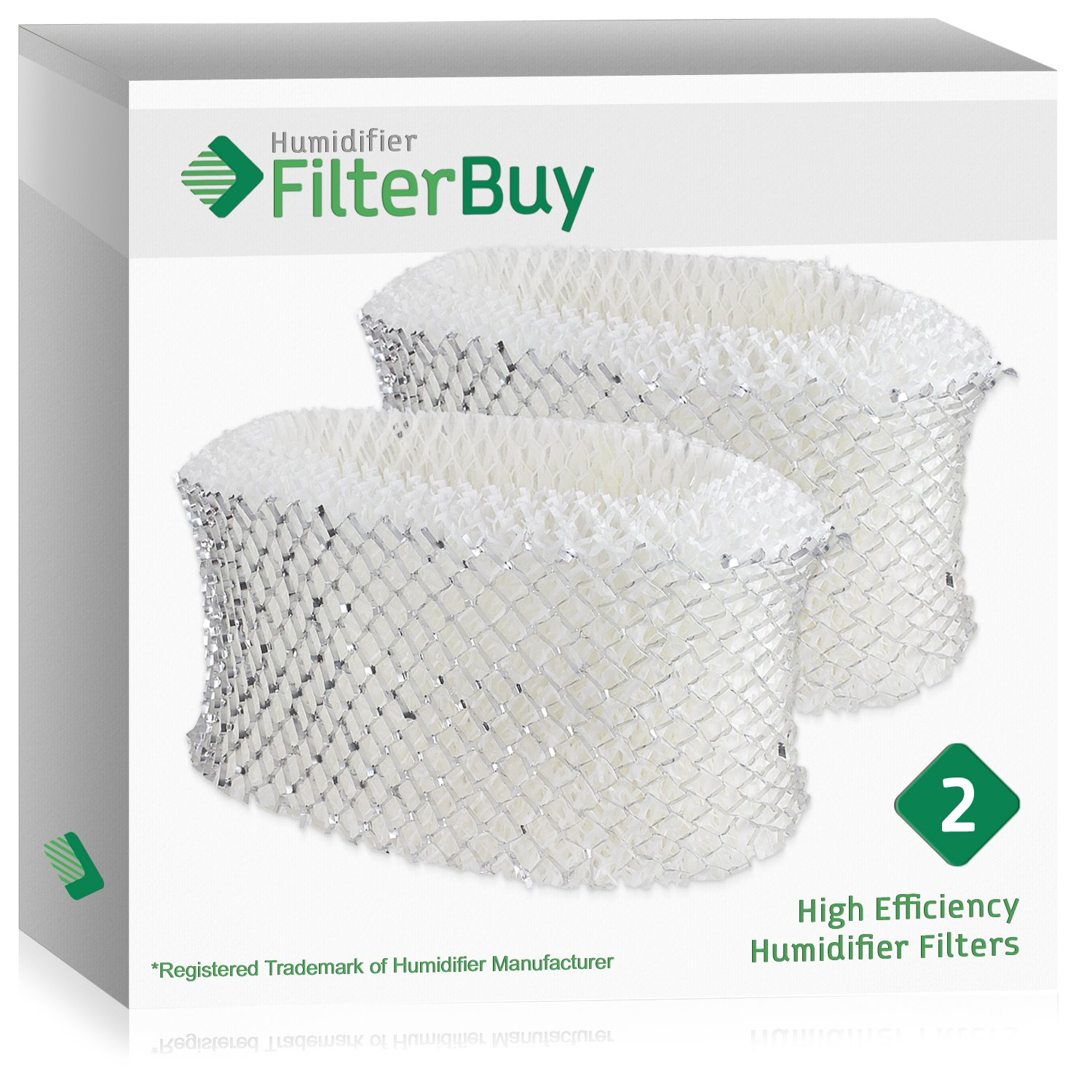 FilterBuy Replacement Humidifier Filters Compatible with Holmes HWF62. Replacement for Part # HWF62, HWF62D, HWF-62 & Hamilton Beach Part # 05910. Pack of 2.