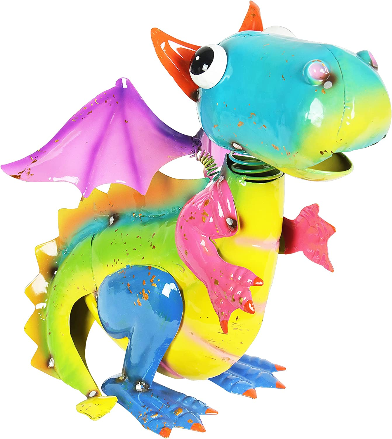 """Exhart Metal Flying Dragon Statue – Cute Dragon Sculpture w/Spring Bobblehead – Weather Resistant Metal Dragon Garden Decor - Hand-Painted Metal Dragon Statue for Garden Decor, 8"""" L x 9"""" W x 10"""" H"""