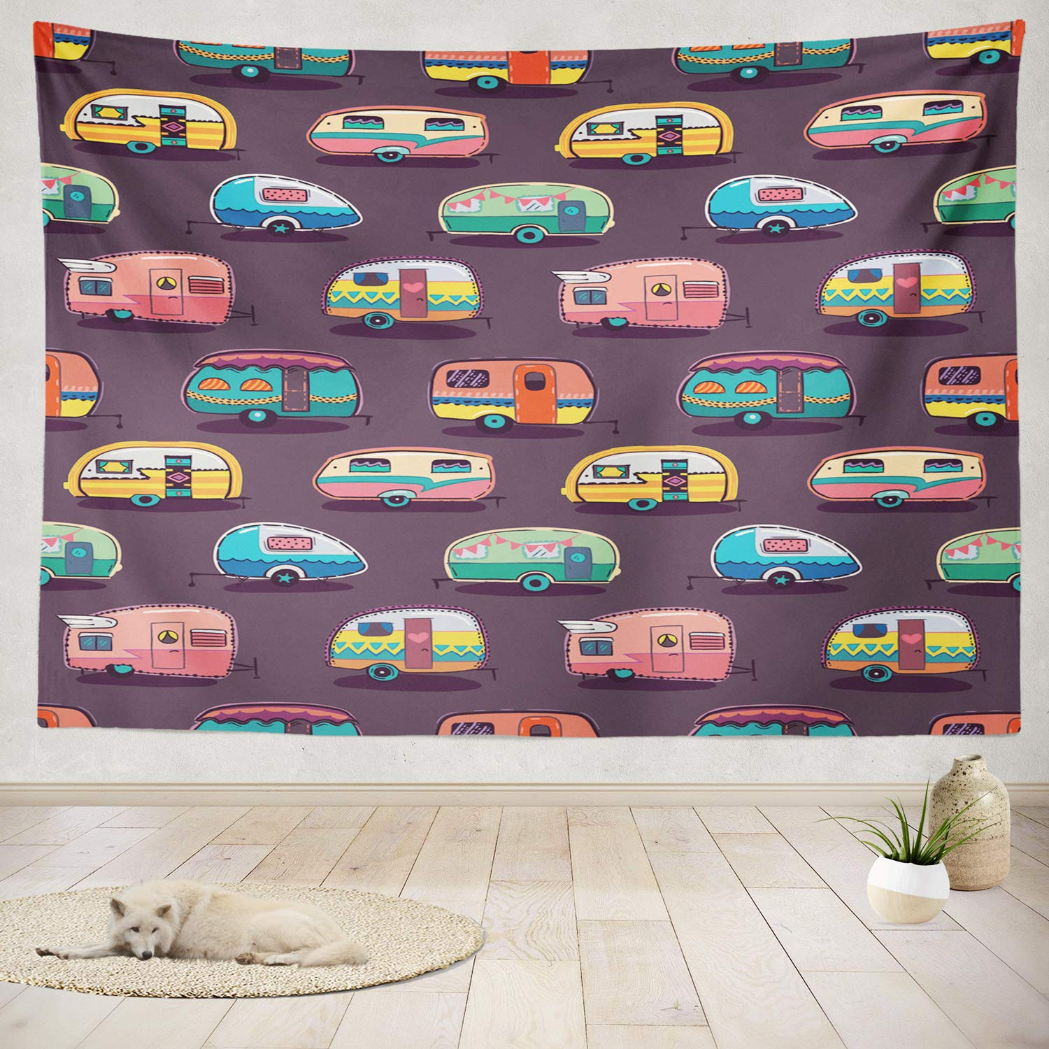 """ONELZ Decor Collection, Mid Fifties Campers Camper Vintage Trailer Travel Adventure Camp Car Bedroom Living Room Dorm Wall Hanging Tapestry 60"""" L x 80"""" W Polyester & Polyester Blend"""