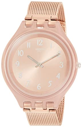 Swatch Reloj Analogico para Mujer de Cuarzo con Correa en Acero Inoxidable SVUP100M: Amazon.es: Relojes