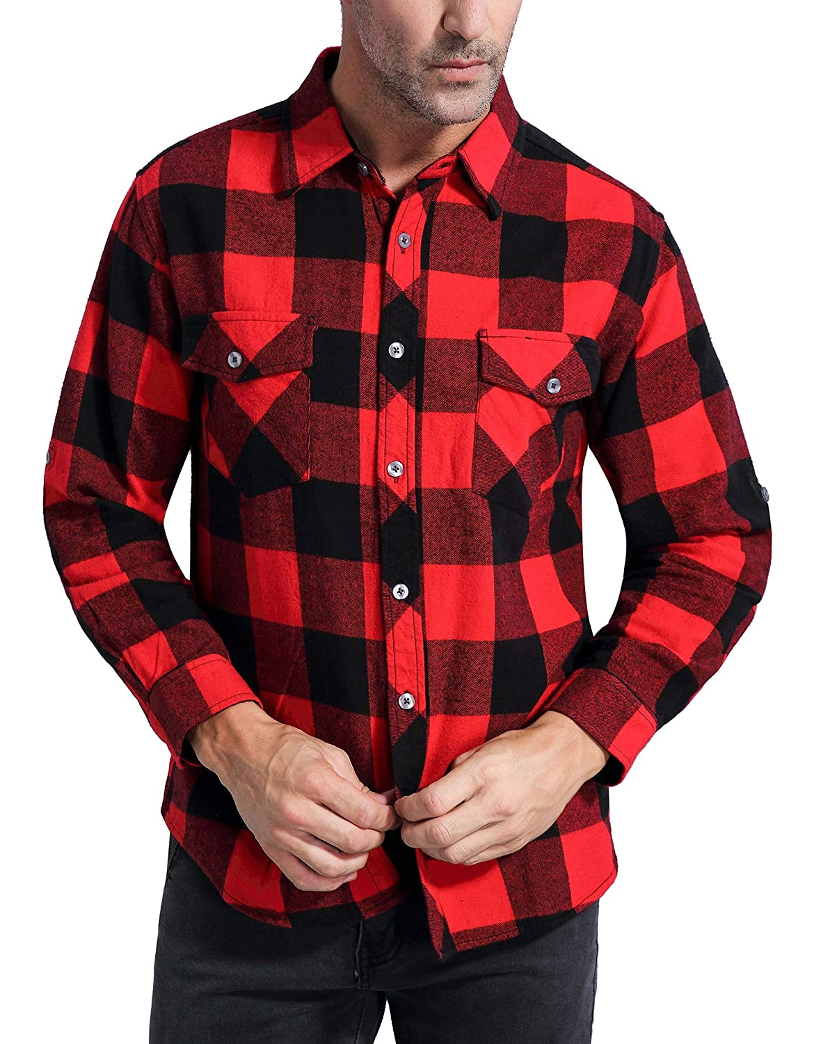 1940s Style Mens Shirts, Sweaters, Vests Coevals Club Mens Long Sleeve 100% Cotton Fleece Plaid Flannel Shirt $28.99 AT vintagedancer.com