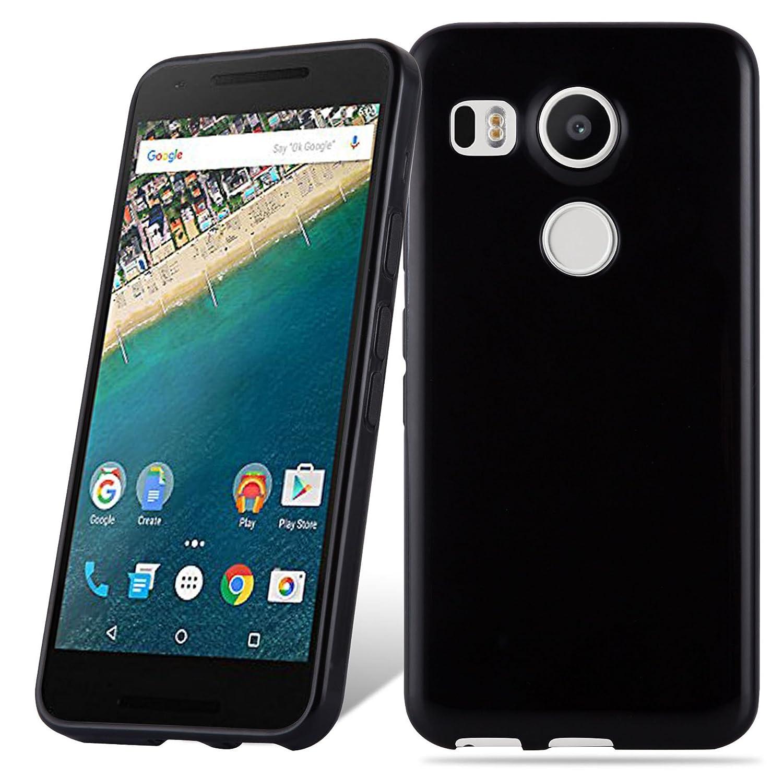 Cadorabo Funda para LG Nexus 5X en Negro – Cubierta Proteccíon de Silicona TPU Delgada e Flexible con Antichoque – Gel Case Cover Carcasa Ligera