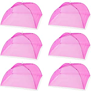 HabiLife 6 pack Large Pop-Up Mesh Food Cover Tent,17 Inches Food Protector Covers Reusable and Collapsible Outdoor Picnic Food Covers Tent For Bugs, Parties Picnics, BBQ (Red)