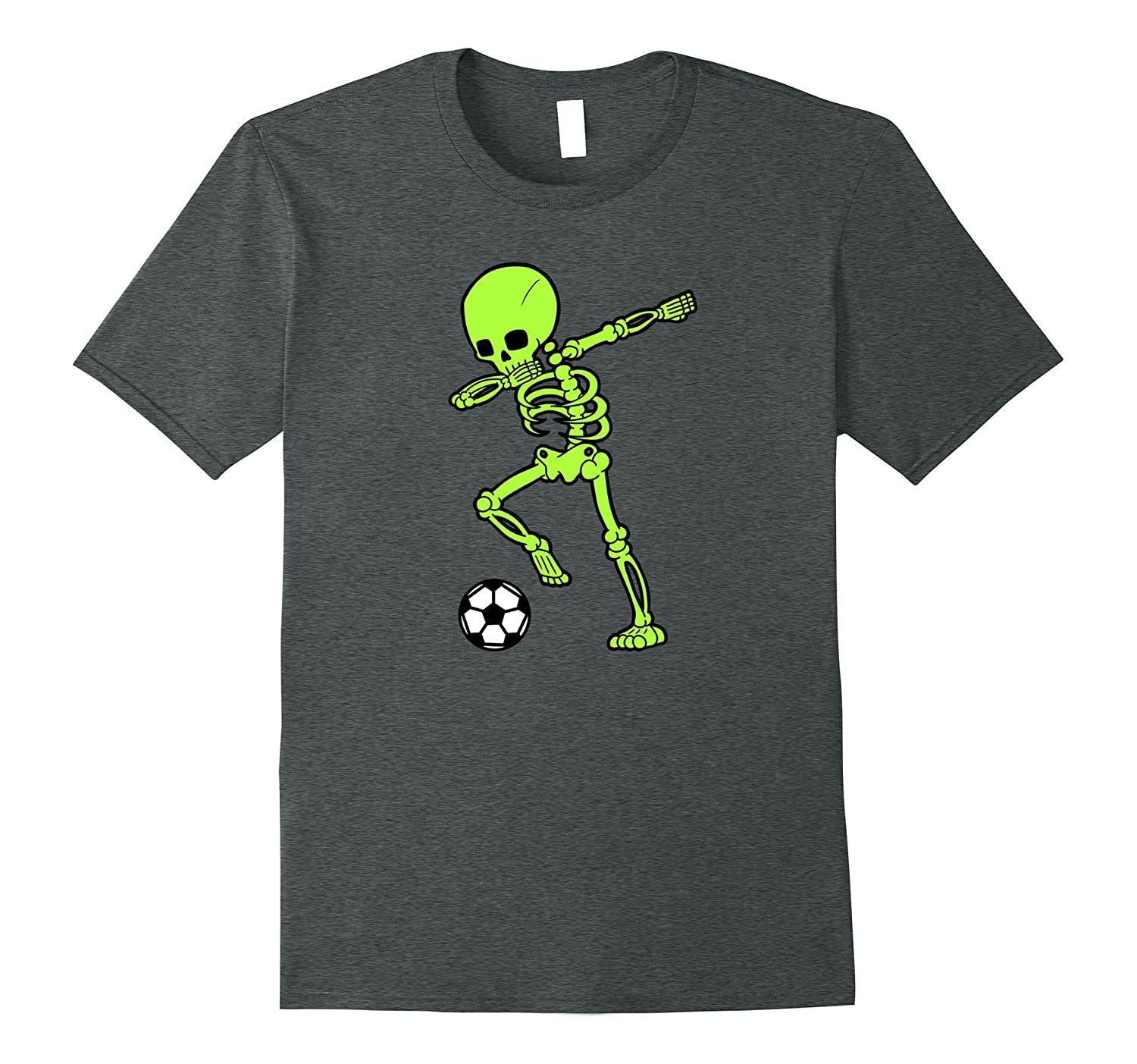 Dabbing Green Skeleton Shirt Dab Soccer Ball Tee-FL