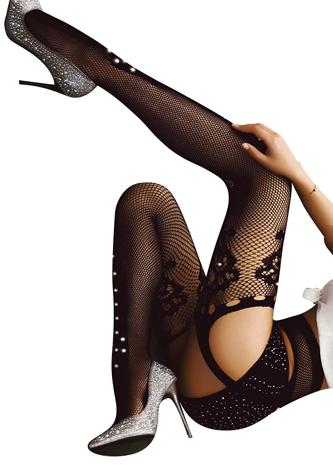 TGD Women's Rhinestone Fishnet Tights Suspender Pantyhose Thigh High Stockings 6118*W31