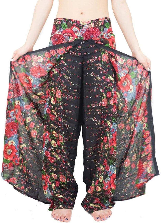 Anatoky Womens Printed Plus Size Elastic Waist Loose Fit Yoga Harem Pants