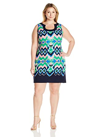 c0b0440763433 Gabby Skye Women s Plus Size Full Figured Psychedelic Printed Sleeveless  Dress