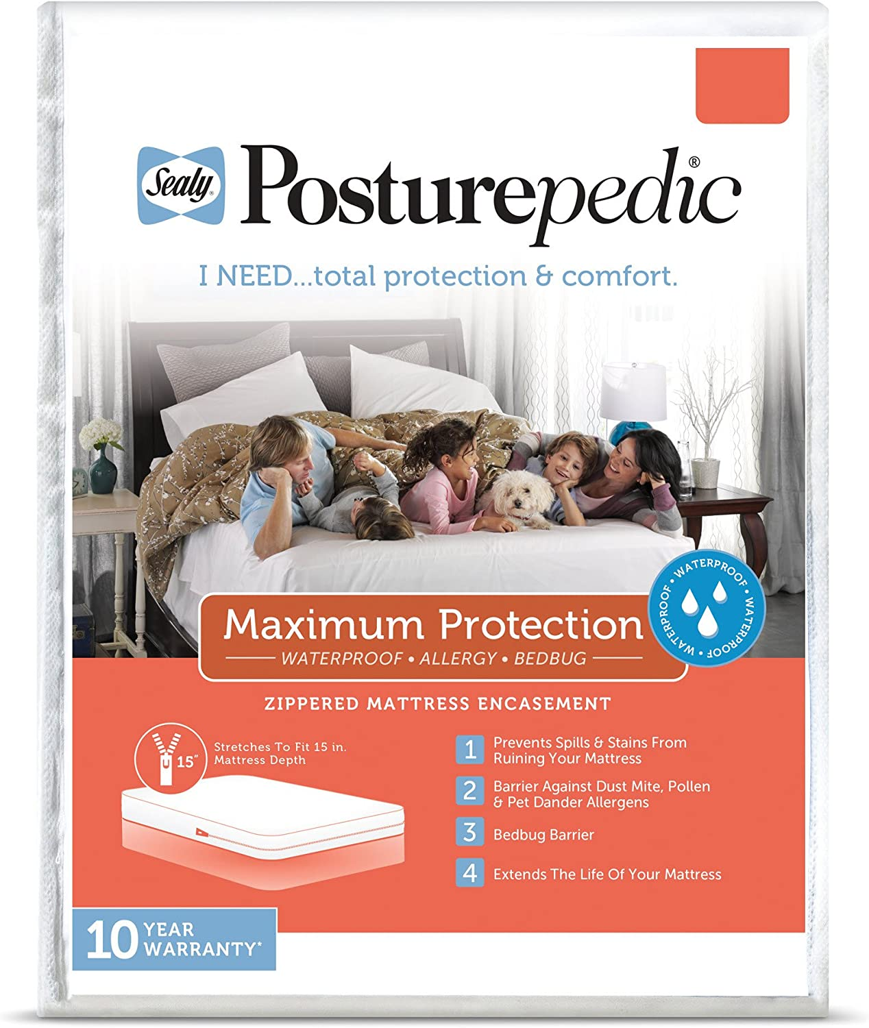 Sealy Posturepedic Maximum Protection Waterproof, Bedbug Zippered Mattress Protector - Prevent Collection of Dust Mites & Other Allergens - Vinyl Free & Hypoallergenic - 10 Year Warranty, Queen Sized