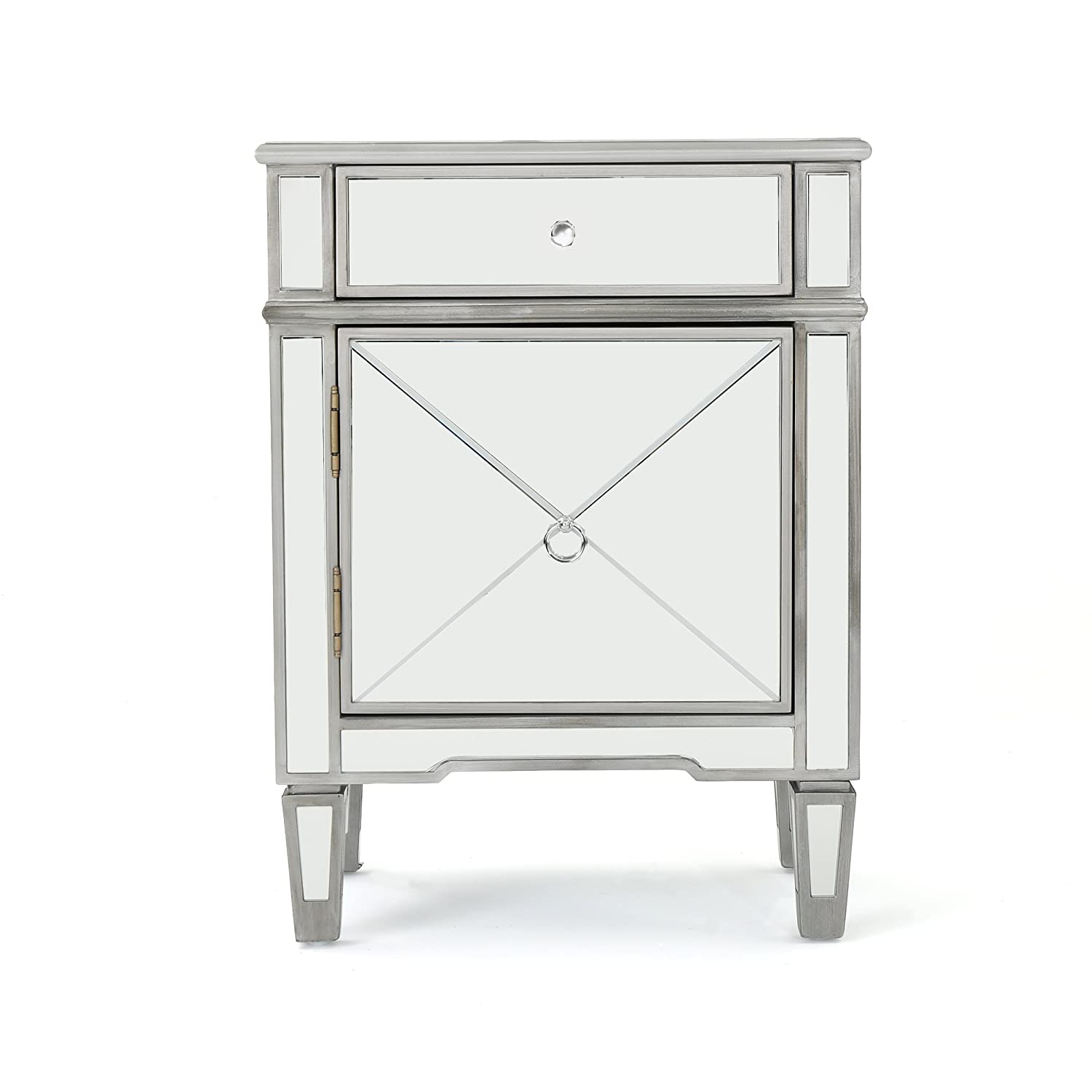 Amazon.com: Nelson Silver Finished Mirrored 2 Drawer Cabinet with Faux Wood  Frame: Kitchen & Dining