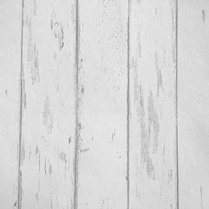 Country Rustic Wood Plank Wallpaper Off White Distressed Panel Roll 208 Inch X