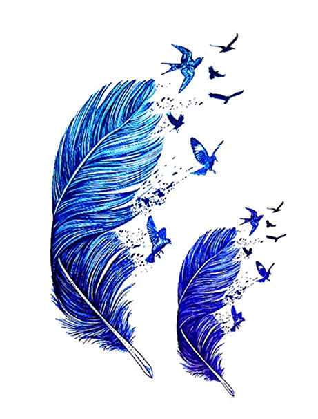 ad6a3450a Temporary Tattoo 3D Blue Peacock Feathers Tattoo Sticker Size 15x10CM -  1PC.: Amazon.in: Beauty