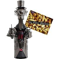 Brubaker- Porta bottiglia con scultura in metallo, ideale come regalo.