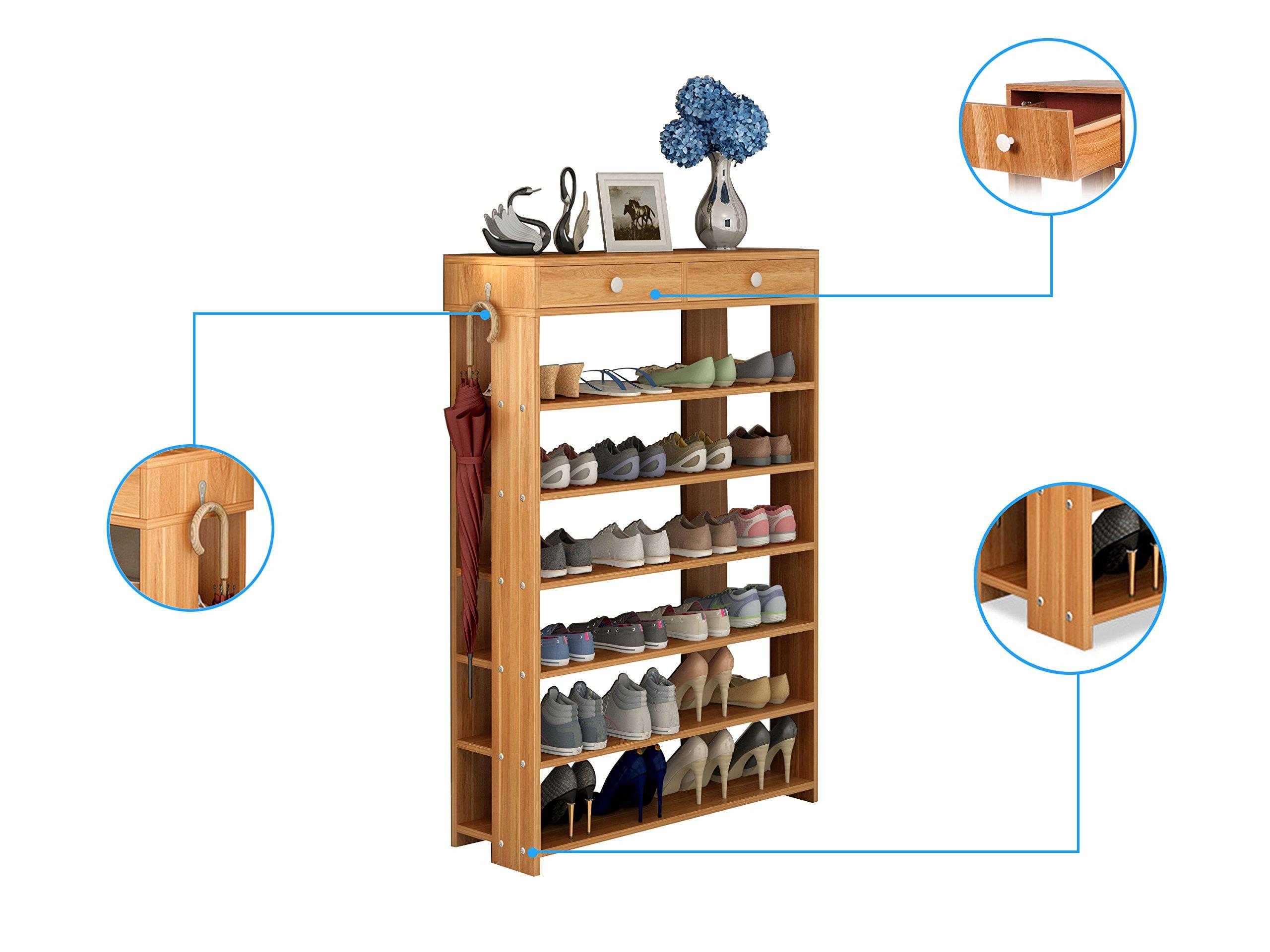 Polar Aurora Shoe Racks 7 Tiers Multi-function Economy Storage Rack Standing Shelf Organizer (Wood) by Polar Aurora (Image #3)