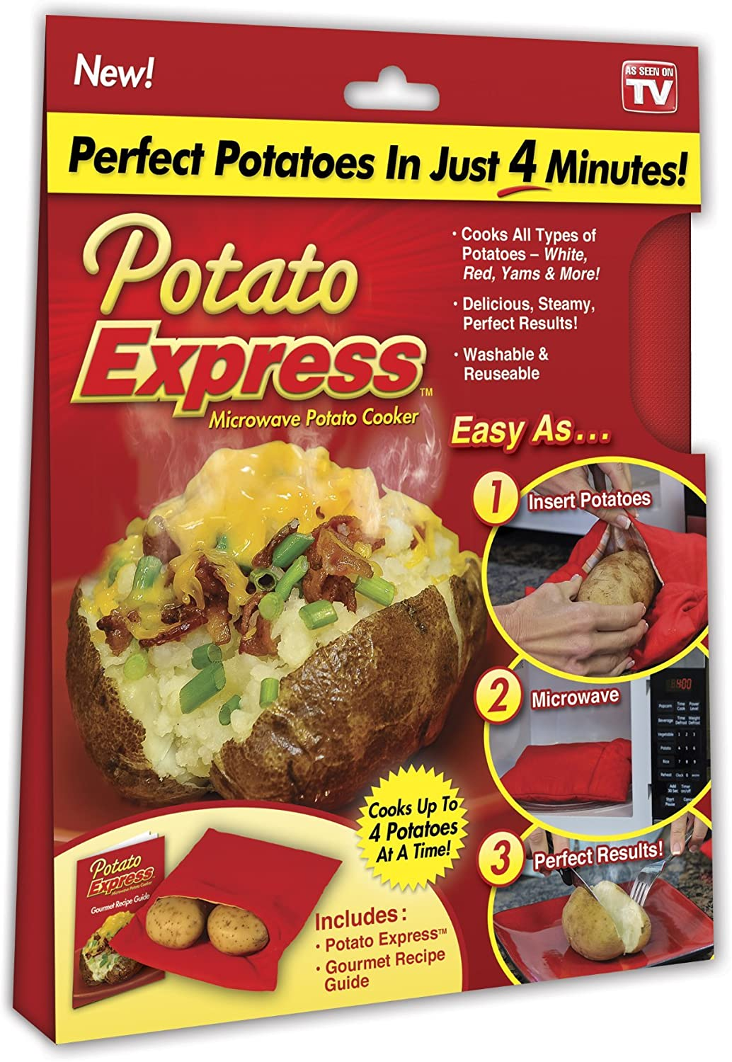 Ontel 1000188 Microwave Cooker, Perfect Potatoes in Just 4 Minutes – As Seen On Tv, Small