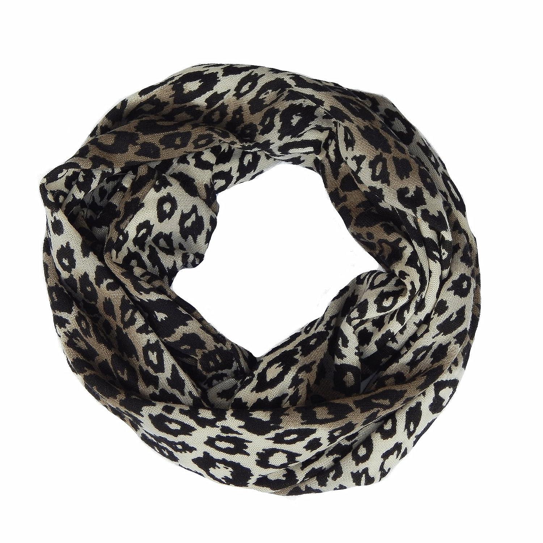 Damen Braun Leopard Gepunktet Schal Tiermuster Gewickelt Tolle Geschenkidee