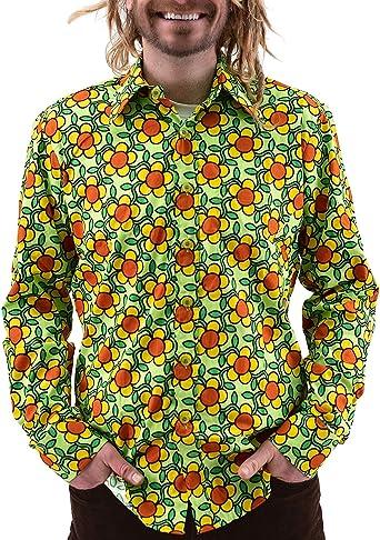 Chenaski - Camisa de los años 70, diseño de Flores, Color Verde: Amazon.es: Ropa y accesorios