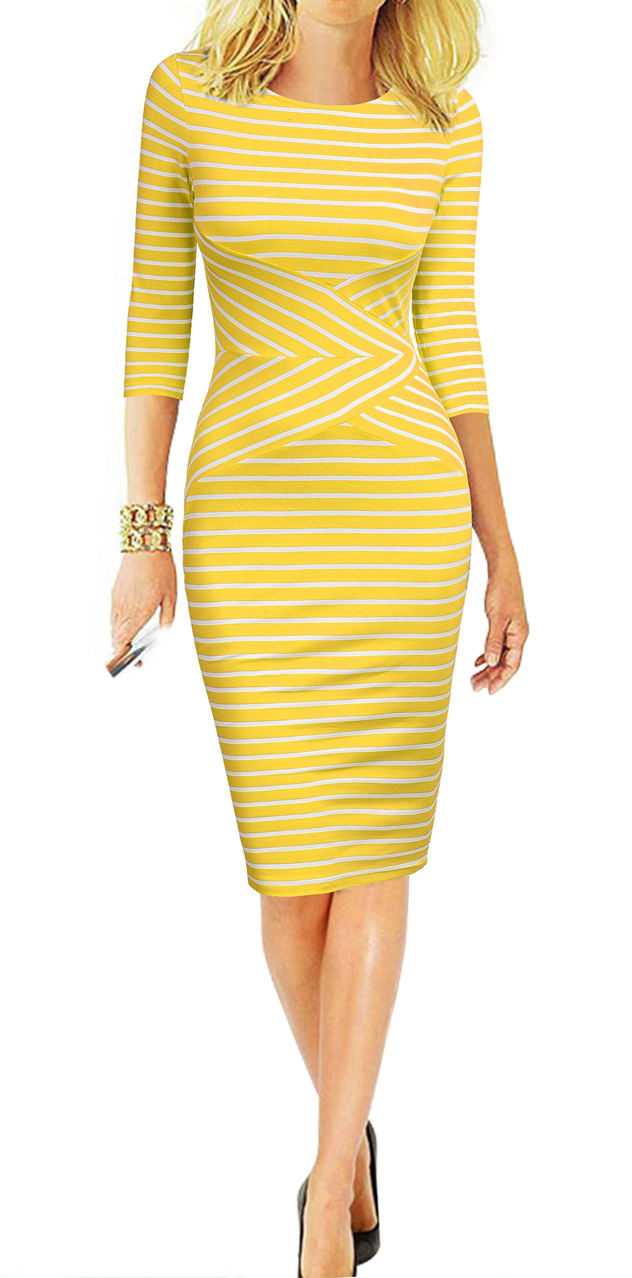 REPHYLLIS Women 3/4 Sleeve Striped Wear to Work Business Cocktail Pencil Dress XL Yellow