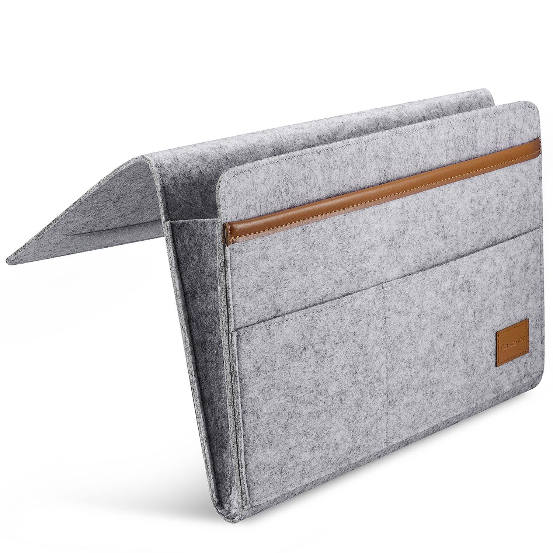 Bedside Caddy Felt & Leather Bed Bedside Organizer Pocket with Strong Velcro Closure for Bedroom, College Dorm Room, Bunk