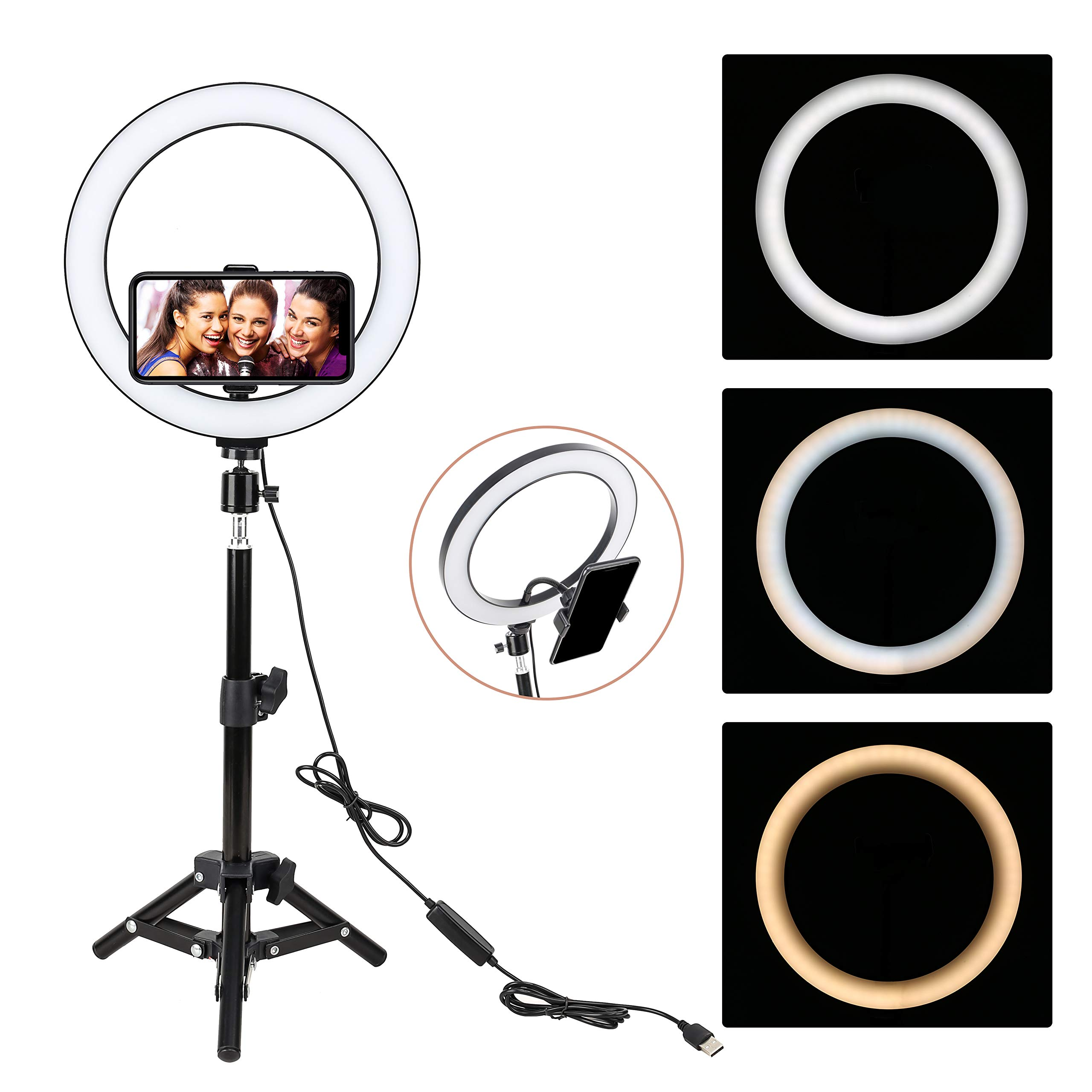 ZoMei 10'' Selfie LED Ring Light with Tripod Stand &Cell Phone Holder for Live Stream/Makeup/YouTube Video,Dimmable Beauty Mini Camera Photography Ringlight for iPhone Xs Max XR Android