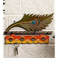 JaipurCrafts Beautiful Mor Pankhi Wooden Key Holder