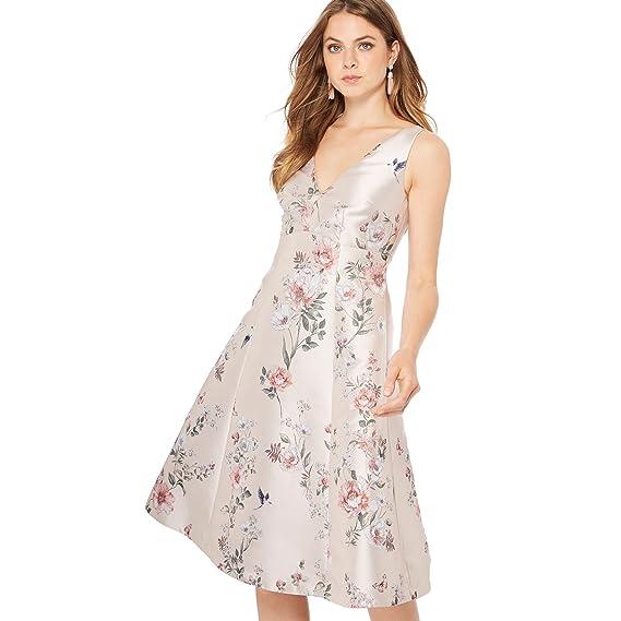 Debut Womens Pale Pink Floral Print JENA V-Neck Knee Length Prom Dress
