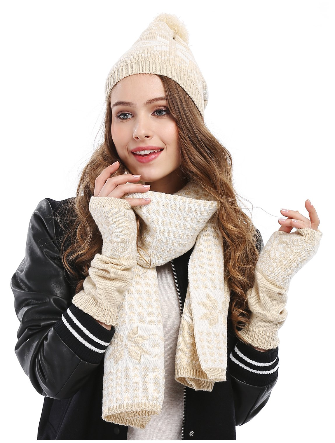 WARM! Women's Snowflake Hat Gloves and Scarf Winter Set ...