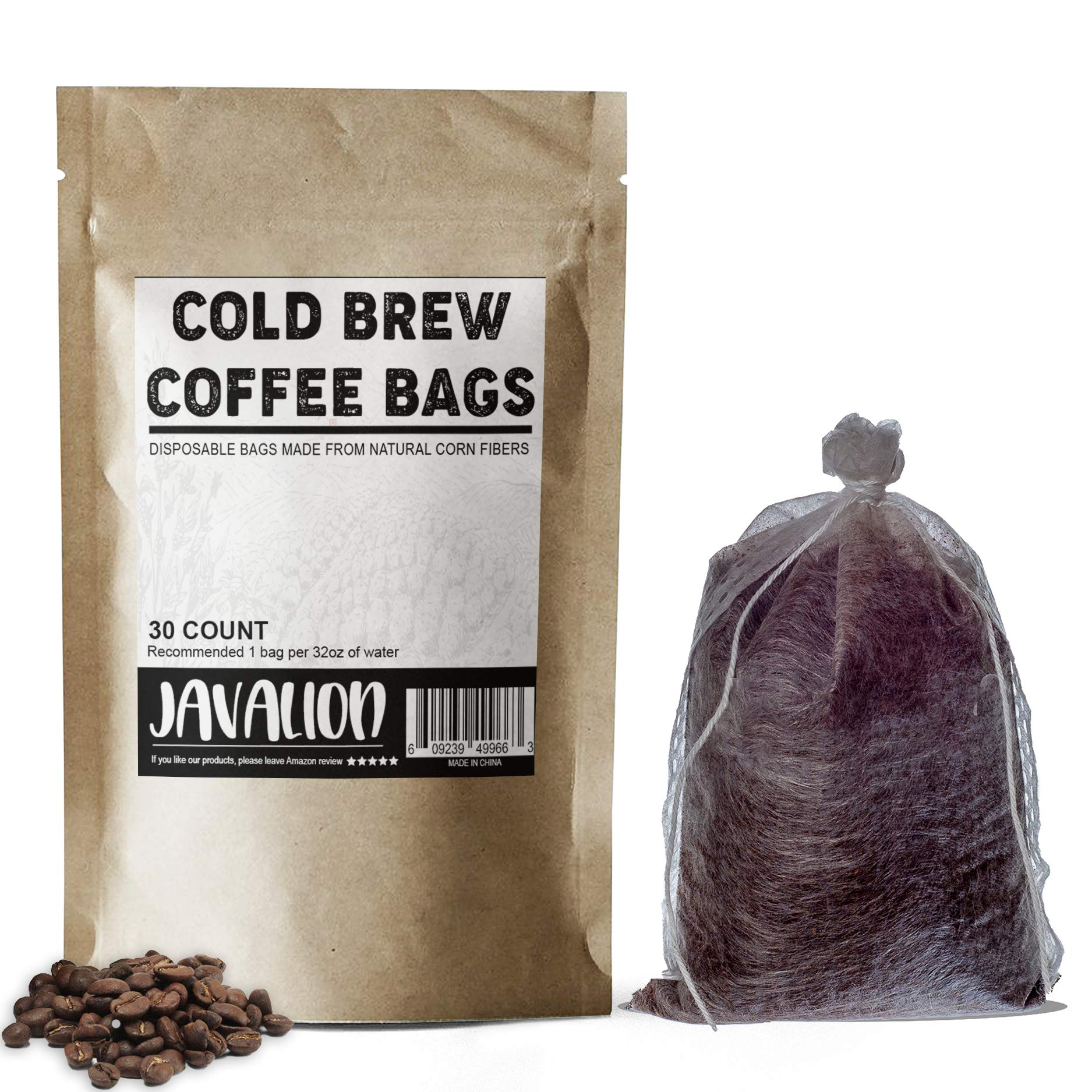 Cold Brew Coffee Bags – Easily Make Great Cold Brew Coffee at Home with JavaLion's All Natural Single-Use Cold Brew Coffee Filters. LARGE 4x6 in. Cold Brew Filters Fine Mesh Brewing Bags [30 COUNT]